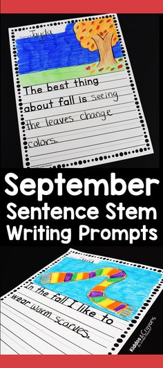 Sentence stem writing prompts are a great way to help young writers get their thoughts on paper. This pack of fall themed sentence stems is a fun way to get your first grade students writing. First Grade Science, First Grade Writing, First Grade Activities, Teaching First Grade, Kindergarten Activities, Writing Activities, Writing Workshop, Writing Skills, Writing Prompts