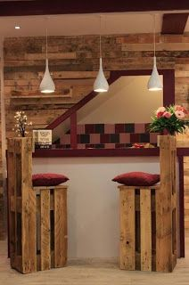 Basement Bar Wall And Stools Made From Pallets