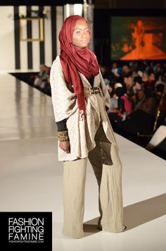 INAYAH on the #FashionFightingFamine 2013 #FFFShow #runway. Styled by Fashion Fighting Famine. #oatmeal #cardigan