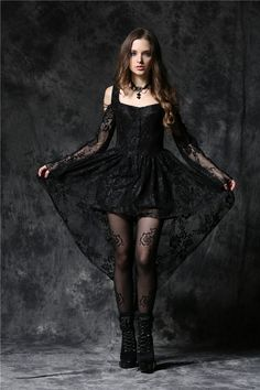 Dark In Love Gothic Ghost Dovetail Lace Dress with Button Front Detail