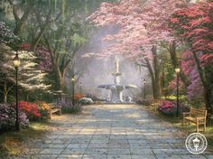Thomas Kinkade Savannah Romance print for sale. Shop for Thomas Kinkade Savannah Romance painting and frame at discount price, ships in 24 hours. Belle Image Nature, Savannah Gardens, Thomas Kinkade Art, Kinkade Paintings, Thomas Kincaid, Tres Belle Photo, Art Thomas, Beautiful Paintings, Savannah Chat