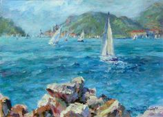 Plein air painting on the Tuscan coast of Lerici, Italy - what a day it was! I sat on the rocks with paintbrush in hand - it was almost moving itself across the canvas while the sailboats scurried across the water.  12x16 in. | Acrylic