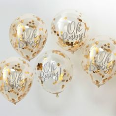 Gold Oh Baby Confetti Balloons, Baby Shower Balloons, Gold Baby Shower Balloons, Gold Baby Shower Decorations, Gold Oh Baby Decor Décoration Baby Shower, Gold Baby Showers, Gender Neutral Baby Shower, Baby Shower Balloons, Girl Shower, Baby Shower Parties, Baby Ballons, Baby Shower Decorations Neutral, Unisex Baby Shower