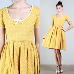 vintage LANZ yellow MUSTARD spring garden party by LuxieVintage, $84.00