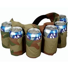 """Product # OV1236 - These beer belts are the ultimate tailgating or fishing trip accessory! It holds six of your favourite beers and fits comfortably around even the biggest beer belly! Expands from 12""""-23""""w x 5-1/2""""h $14.98"""