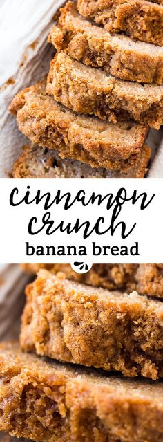This whole wheat cinnamon crunch banana bread is SO good! Made with whole wheat flour, healthy Greek yogurt, mashed banana, eggs and oil. The cinnamon streusel crunch topping is SO good. Great for a special breakfast treat that's still a little healthier. via @savorynothings