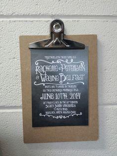 Chalk board style Wedding invitation