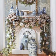 Learn How to Decorate a Spectacular and Cheap Christmas Garland overflowing with gorgeous Blue & White decor accents!