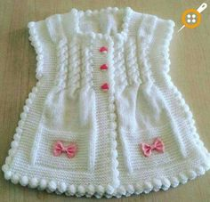 "diy_crafts- Örgü modelleri yelek bebek ""Sweet baby vest for our little girls. And This products selinng from knitter if you want to buy you can c Gilet Crochet, Knit Crochet, Crochet Hats, Knitted Hats, Baby Knitting Patterns, Baby Patterns, Crochet Patterns, Vest Pattern, Free Pattern"