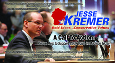 We have released our latest campaign fundraising mailer. We could REALLY use your help!  If you believe Jesse is acting as your voice in Madison, please encourage him to continue the fight. Please consider a contribution from $5 to $1000 at https://jessekremer.ezcontribution.com/  It really is necessary to raise funds so the Kremer for Wisconsin campaign can keep Jesse in office.  (More information on Jesse and his work can be found at: www.jesseforwisconsin.com)