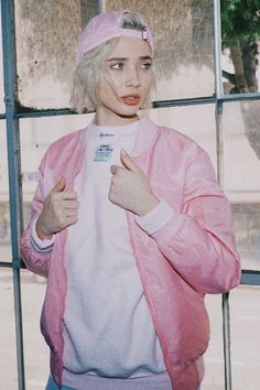 Introducing our ALL BABY PINK MA-1 BOMBER. The jacket is completely tonal. Everything in this jacket is baby pink, including the labeling. This piece symbolizes minimalist monochromatic aesthetic. - 1