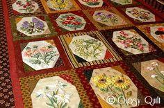 Gipsy Karavan - France quilt made of different ribbon flower blocks
