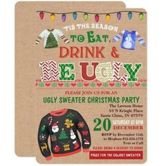 Adult Christmas Party, Christmas Party Themes, Tacky Christmas, Ugly Christmas Sweater, Holiday Parties, Christmas Games, Party Banner, Retro Vintage, Christmas Stationery