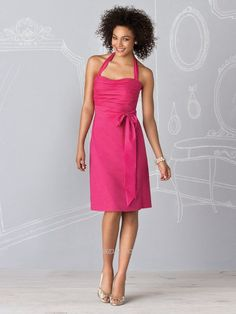 A-Line Scoop Neckline Halter Strap with Ribbon Knee Length Zipper Taffeta bridesmaid Dress