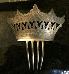 Sterling Silver Crown Shaped Hair Comb | eBay