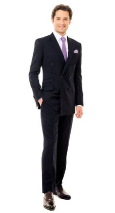 Solid Navy Double-breasted Suit
