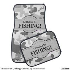 I'd Rather Be (Fishing) Camouflage Personalized Floor Mat