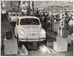 Zastava Automobile Plant, 1970s by kitchener.lord, via Flickr Bus Engine, Italian Posters, Fiat 600, Italy Spain, Alfa Romeo Cars, Assemblage, Serbian, Funny Images, Classic Cars