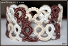 Lace tatted bracelet in beige and brown