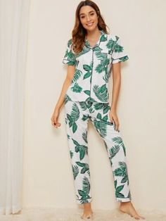 Shein Tropical Print Button-up PJ Set Lingerie Models, Lingerie Set, Women Lingerie, Loungewear Outfits, Loungewear Set, Fashion News, Girl Fashion, Womens Fashion, Button Up