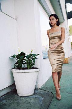 Gold brocade dress (Karla's Closet)
