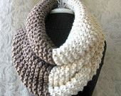 El Grande Cowl - Chunky Knit Cowl - Oversized - Taupe and Cream