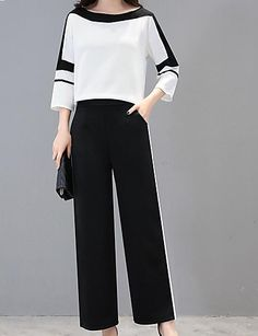 Women's Plus Size Holiday Work Street chic Sophisticated Set - Solid Colored Color Block Pant / Summer / Sexy 2020 - ₩ 52627 Street Chic, Street Style, Street Mall, Older Women Fashion, Curvy Fashion, Cheap Fashion, Fashion Top, Fashion Fall, Mode Top