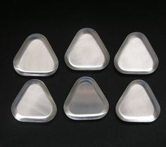 6 vtg 1960s triangular Empire stainless steel pin trays or butter pats modernist