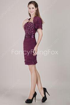 Sheath Mini Length Grape Chiffon Sweetheart Neckline Sheath Mini Length Wedding Guest Dresses With Diamonds