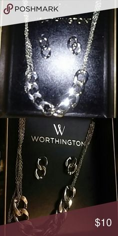 "SALE! Silver Link Necklace and Earrings Necklace 18"" made of four small chains. Worthington Jewelry Necklaces"