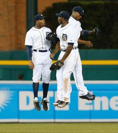 Outfielders Rajai Davis, Torii Hunter, and Austin Jackson celebrate, Alright guys Speedy and these guys need your support this season. Support your Detroit Tigers this season so they can go to the World Series. Detroit Sports, Detroit Tigers Baseball, Baseball Star, Baseball Players, Torii Hunter, Detriot Tigers, Tiger Team, America's Pastime, Sports Fanatics