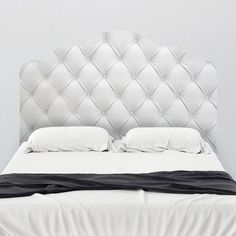 White Faux Tufted Adhesive Headboard Mount wall decal on wall