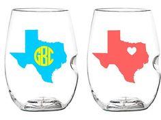 state monogram wine glasses. Must have!