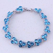 2017 Nieuwe Producten Hemelsblauw Crystal Cubic Zirkoon Zilveren Kleur Charm Armbanden Voor Vrouwen Bridal Party Mode-sieraden D0024(China)