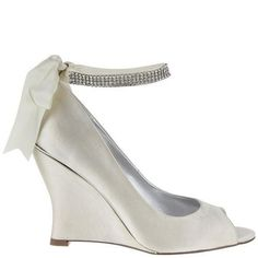 Dark Ivory Open Toed Wedge Heel With Diamanté Ankle Strap Wedding Shoes, Emma | Georgie's Wedding Shoes