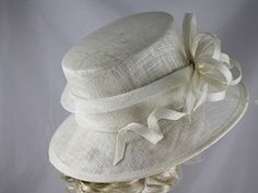 Elegance Collection Sinamay Loops Wedding Hat in Ivory - Wedding Hats Uk, Mother Of The Groom Hats, White Church Hats, Occasion Bags, Sinamay Hats, Woven Scarves, Kentucky Derby Hats, Navy Pink, Hat Sizes