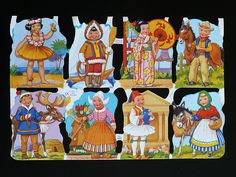 Mamelok English Embossed Scrap Die Cut - Children of Different Nations 1422 Paper Embroidery, Embroidery Patterns, Vintage Baby Pictures, Precious Children, Vintage Paper, Vintage Cards, Vintage Toys, The Good Old Days, Beautiful Dolls