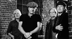 Old kids on the block: AC/DC in (left to right) Cliff Williams, Brian Johnson, Stevie Young and Angus Young. The Rock, Ac Dc Rock, Phil Rudd, Cliff Williams, Stevie Young, Malcolm Young, Bon Scott, Brian Johnson, Music Videos