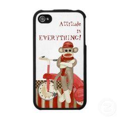 attitude is everything--sock monkey--phone case