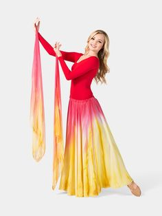 Watercolour Worship Long Skirt red&gold
