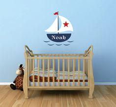 Sailboat Wall Decal, Personalized Sailboat Decal, Nautical Decal, Sailboat Name Decal, Sailboat Nursery, Sailboat Decor - WD0039