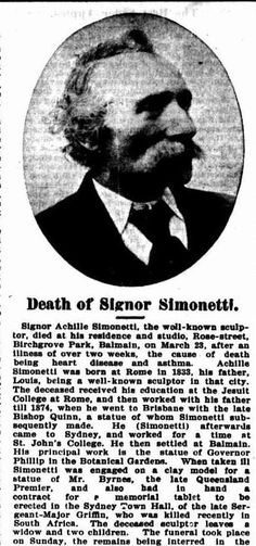 Achille Simonetti, sculptor. Australian Town and Country Journal (31 March 1900, page 27