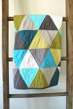 craftyblossom: aqua and olive :: a pyramids baby quilt.