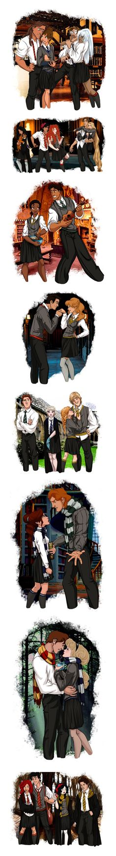 Disney Characters as Hogwarts Students