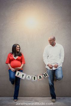 Parents with Baby name banner