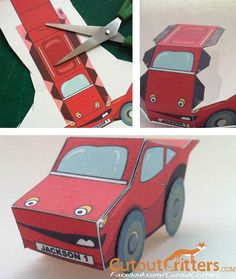 Creating the new racing car from Cutout Critters.  I love being able to design, print and with a few cuts and double sided tape you can have a car, a bus, or ...! :)  cutoutcritters.com Tape, Paper Crafts, Racing, Activities, Design, Running, Tissue Paper Crafts, Paper Craft Work, Auto Racing