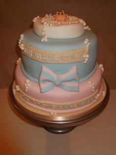 Baby Reveal cake  Cake by Tracey