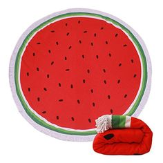 $20.99--WATERMELON--Thick Terry Round Beach Towel/Round Beach Blanket/Round Beach Mat Roundie Tapestry/Round Yoga Mat with Fringe Tassels