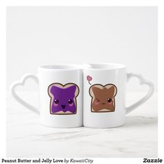 Peanut Butter and Jelly Love Coffee Mug Set - love gifts cyo personalize diy Coffee Mug Sets, Mugs Set, Valentine Day Gifts, Valentines, We Go Together, Sweetest Day, Made In Heaven, Cute Mugs, Match Making