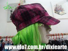 Boina Xadrez Rosa  www.elo7.com.br/dixiearte